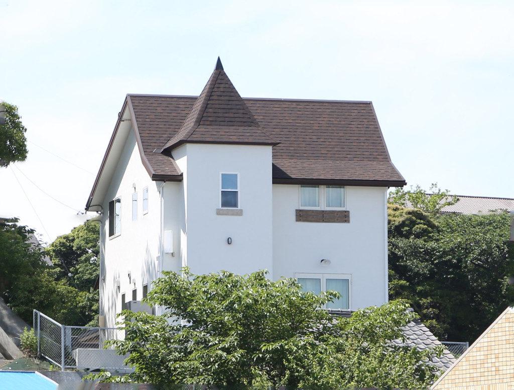 浜松市の注文住宅会社のエコーアートが建てた塔のある家の北面外観正面写真