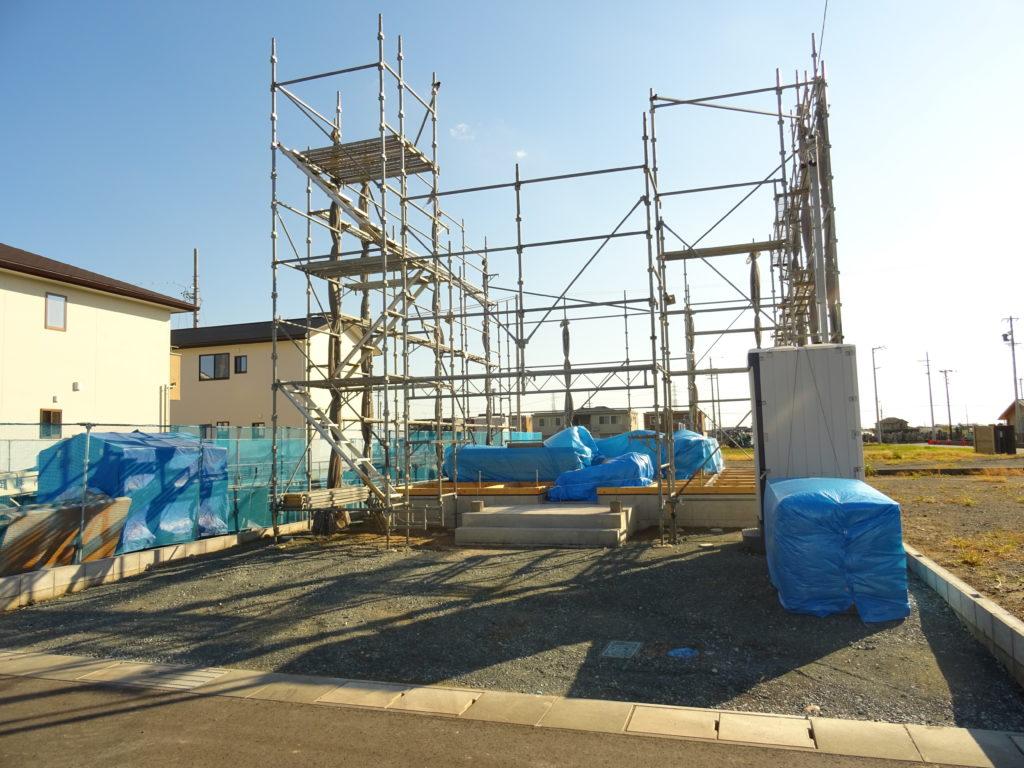 浜松市で注文住宅会社のエコーアートが迎える上棟準備写真