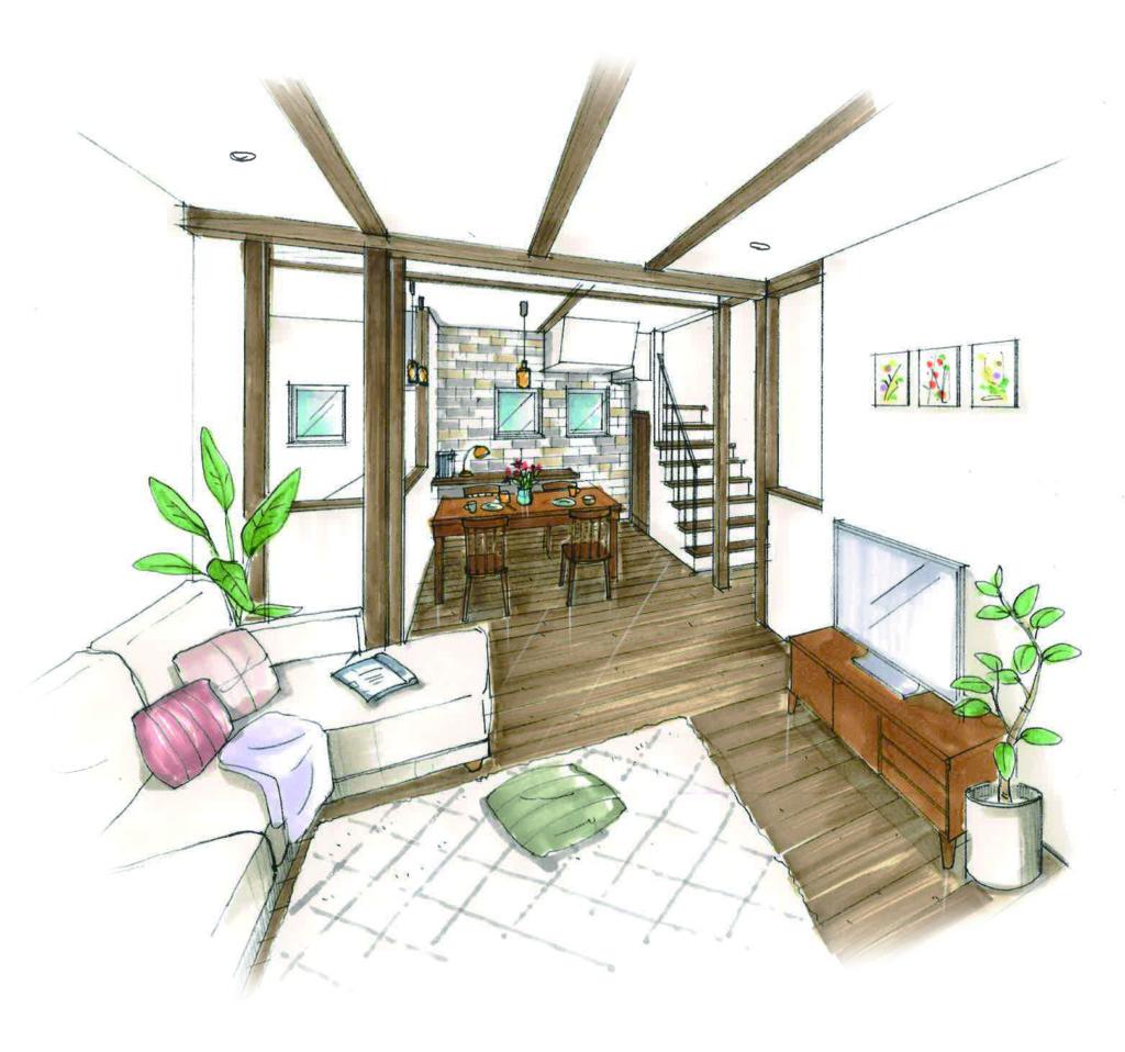 浜松市の注文住宅会社のエコーアートが建てた家の内観パース