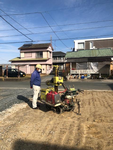 浜松市の注文住宅会社のエコーアートが行う地盤調査写真