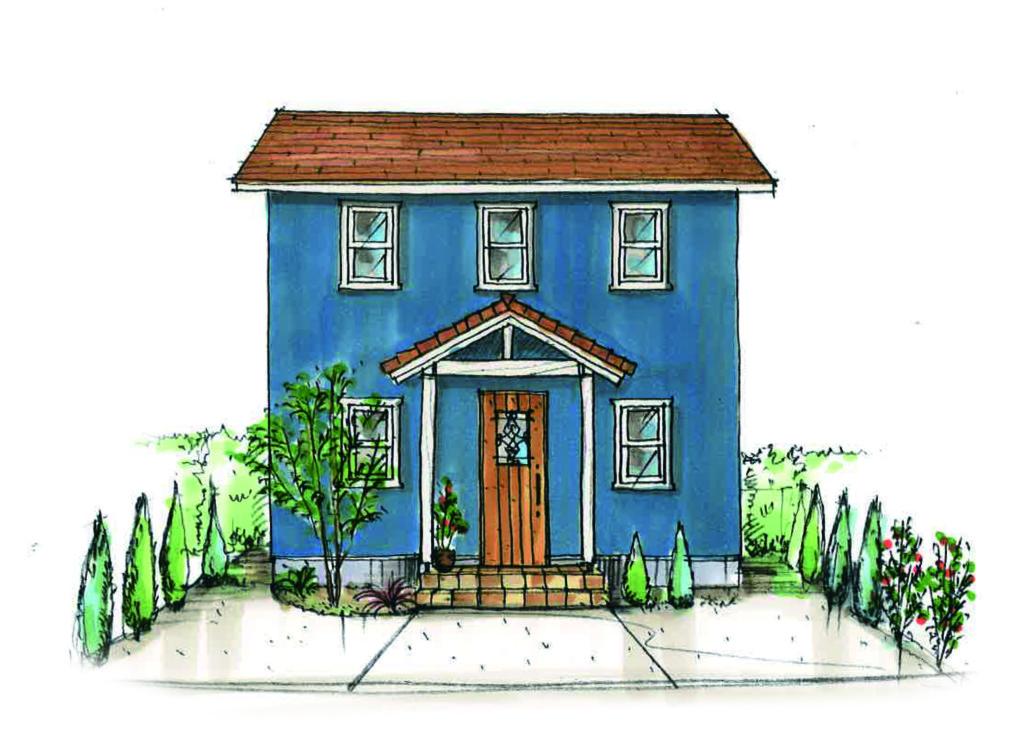 浜松市の注文住宅会社のエコーアートが建てたcolorful mamanの家の外観パース