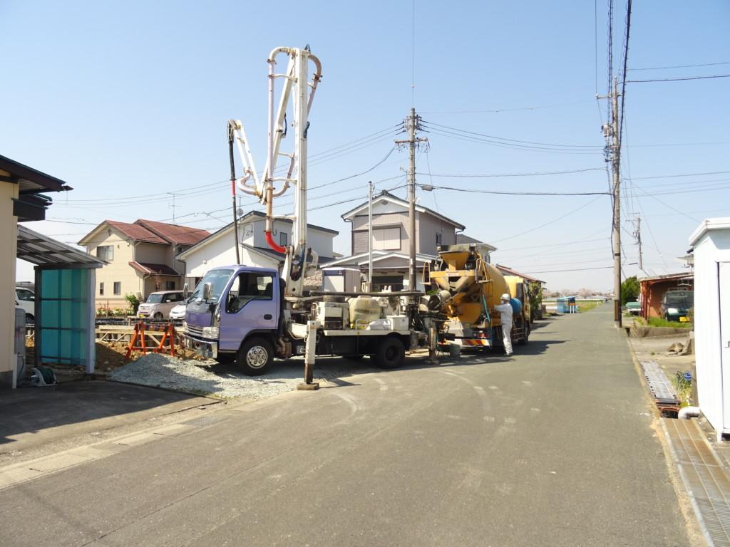浜松市の注文住宅会社のエコーアートが行うコンクリート打設全景写真