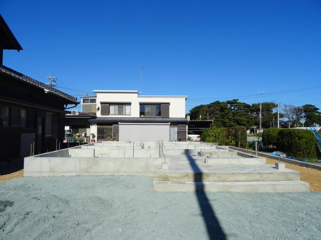 浜松市の注文住宅会社のエコーアートが施工した基礎工事完了写真