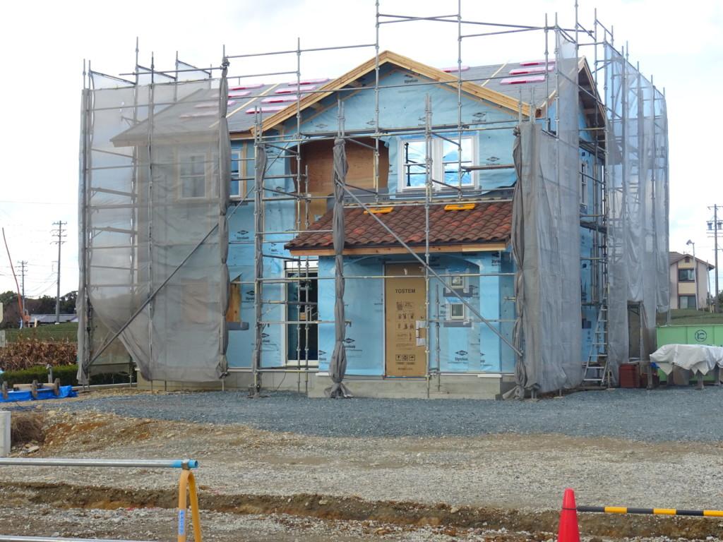 浜松市の注文住宅のエコーアートが建築中の透湿防水シート施工完了の現場写真
